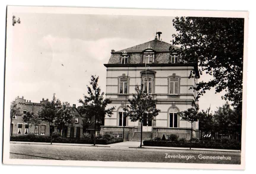 Het gemeentehuis van Zevenbergen in vroegere tijden.