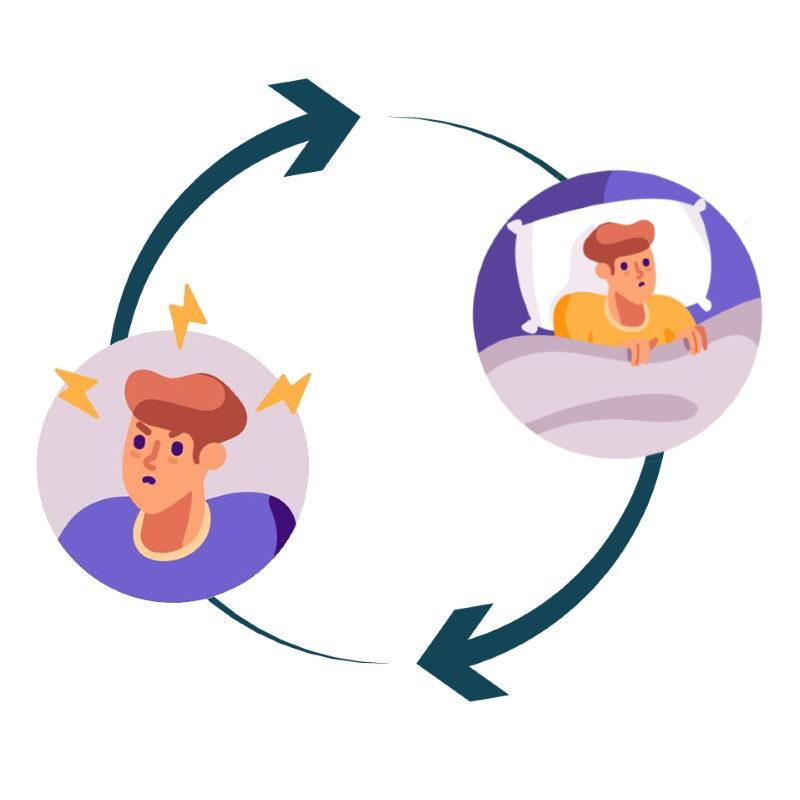 De vicieuze cirkel tussen stress en slaap. Door stress slaap je slecht en door slecht slapen ontstaat stress.